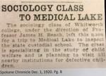 Sociology Class to Medical Lake