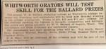 Whitworth Orators will Test Skill for the Ballard Prizes