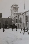 Anguo cathedral under the snow and Father Raymond de Jaegher on horseback