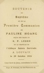 Baptism and first communion card of Pauline Hoang