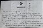 Letter from Fr. Leonard Amrhein to Catherine Amrhein.