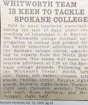 Whitworth Team is Keen to Tackle Spokane College