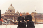 Cardinal Gong Pinmei at the Jesuit Curia in Rome - Seated with Peter Hans Kolvenbach, SJ