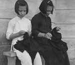Two Chinese Girls Sewing