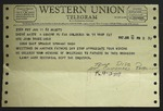 Telegram to Sonora Dodd from Larry Agee, June 11, 1962