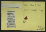 Card with Newspaper Clipping, June 17, 1974