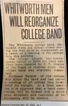 Whitworth Men Will Reorganize College Band
