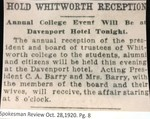 Hold Whitworth Reception