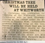 Christmas Tree Will be Held at Whitworth