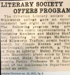 Literary Society Offers Program