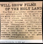 Will Show Films of the Holy Land