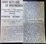 Army Gets Use of Whitworth