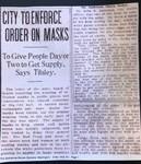 City to Enforce Order on Masks