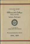 Catalogue Number of Whitworth College 1935-1936